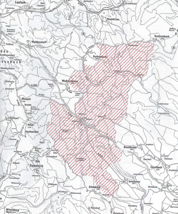 Flächenvorschlag für einen möglichen Nationalpark Spessart